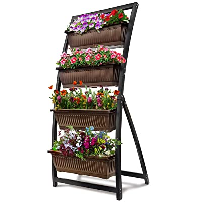 6-Ft Raised Garden Bed - Vertical Garden Freestanding Elevated Planter with 4 Container Boxes - Good for Patio or Balcony Indoor and Outdoor - Cascading Water Drainage (1-Pack/Espresso Brown): Garden & Outdoor