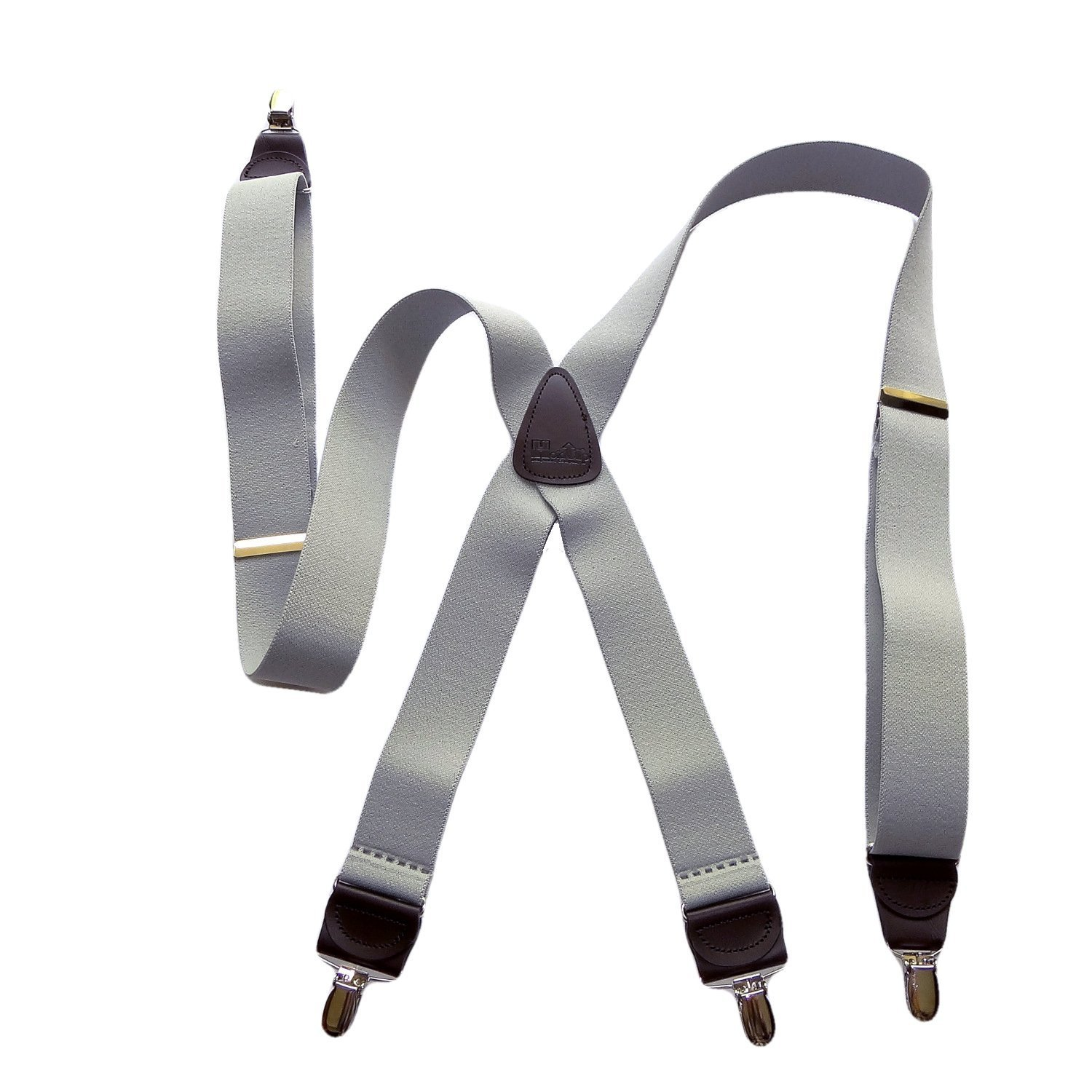 HoldUp Brand Silver Fox Gray X-back Suspenders are 1 1/2'' Wide with patented No-slip Silver-tone Clips