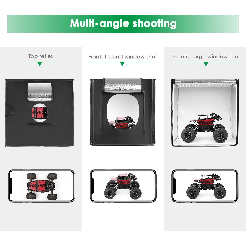 Foldable Photography Box- White//Black//Orange Backdrops Amzdeal Light Box 50 * 50cm//20x20 Support Multi-Angle Shooting Professional Photography Tent with 2pcs 5500K LED Lighting Photo Studio