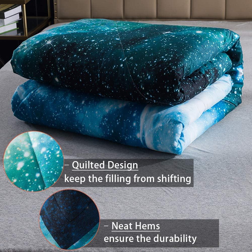 Universe Nebula Outer Space Comforter Microfiber Bedding Set for Boys Kids 90x90lnch Litanika 3D Galaxy Comforter Queen 3 Pieces 1 Galaxy Comforter, 2 Pillowcases