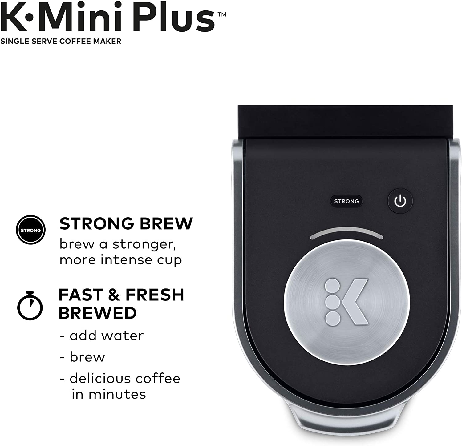 Keurig K-Mini Plus Coffee Maker, Single Serve K-Cup Pod Coffee Brewer, Comes With 6 to 12 Oz. Brew Size, K-Cup Pod Storage, and Travel Mug Friendly, Black: Kitchen & Dining