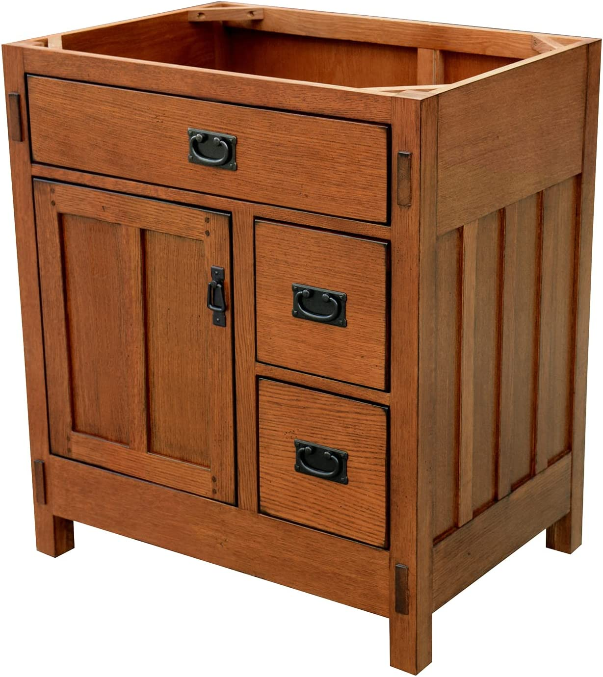 Sagehill Designs American Craftsman 30 Bathroom Vanity Base Rustic Oak Finish Amazon Com