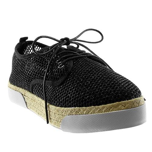 Angkorly Zapatillas Moda Alpargatas Zapato Derby Suela de Zapatillas Plataforma Mujer Perforado Brillante Cuerda Tacón Plano 3 cm: Amazon.es: Zapatos y ...