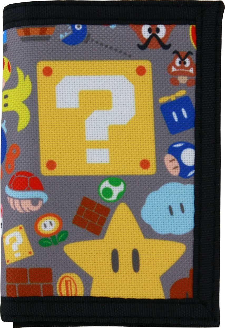 Super Mario Grey Tri-fold Wallet BioWorld