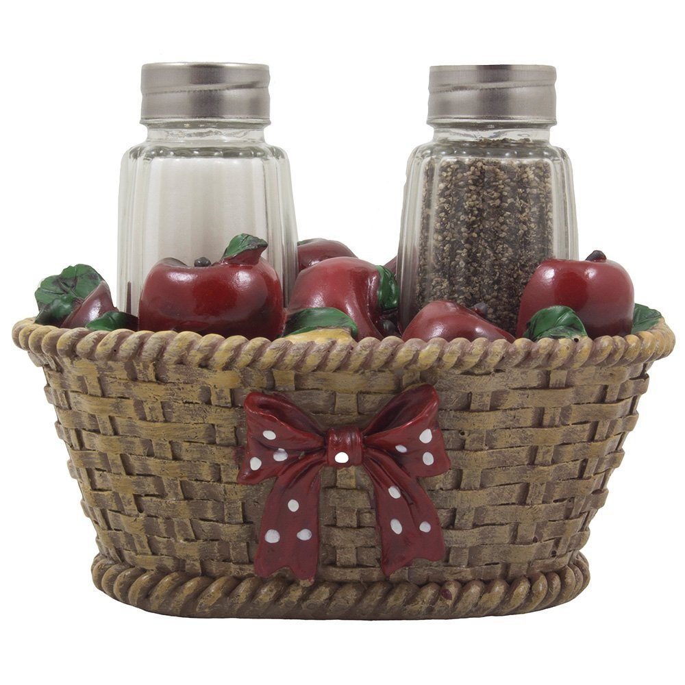 Apple basket glass salt and pepper shaker set with holder for Apple kitchen decoration set