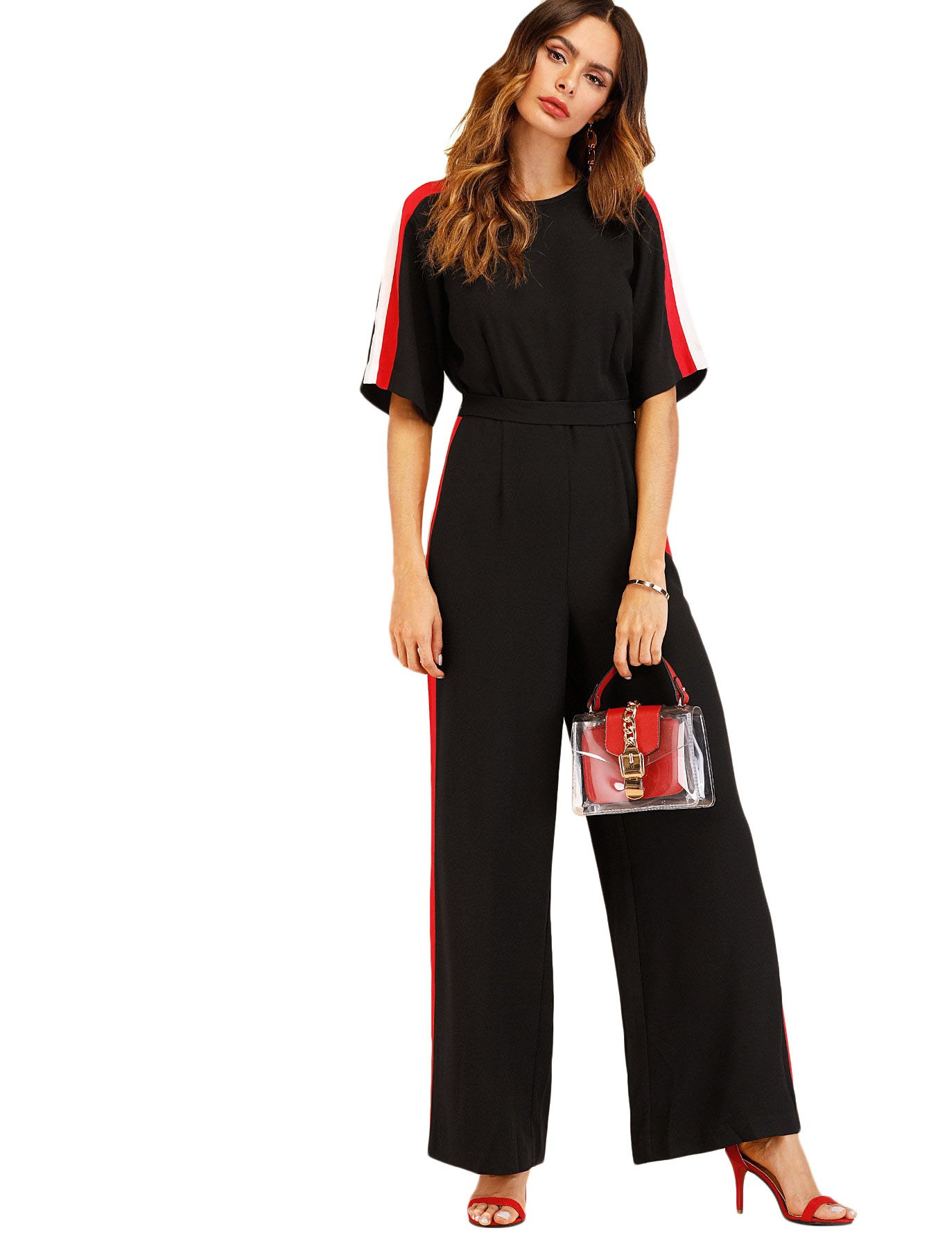 Verdusa Women's Round Neck Self Tie Waist Belted Loose Culottes Jumpsuit Black S