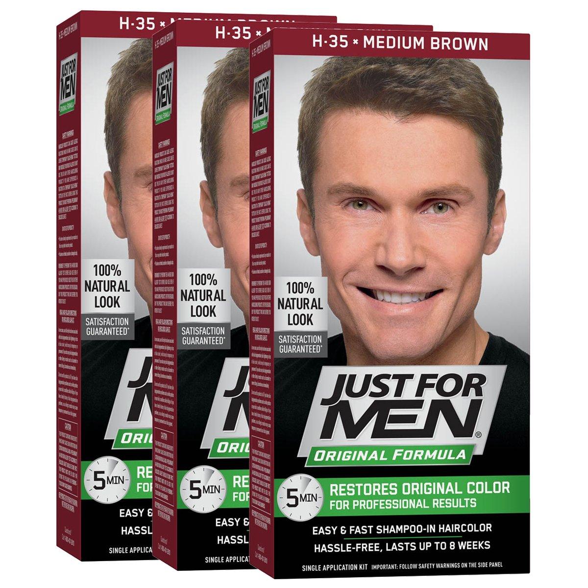 Just For Men Original Formula Men's Hair Color, Medium Brown (Pack of 3)