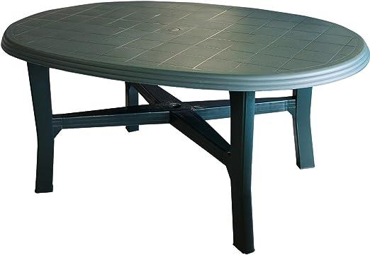 Tavolo Plastica Giardino Prezzo.Tavolo Da Giardino Plastica 165 X 110 Cm Ovale Colore Verde