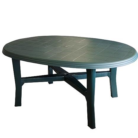 Tavolo Di Plastica Da Esterno.Tavolo Da Giardino Plastica 165 X 110 Cm Ovale Colore Verde