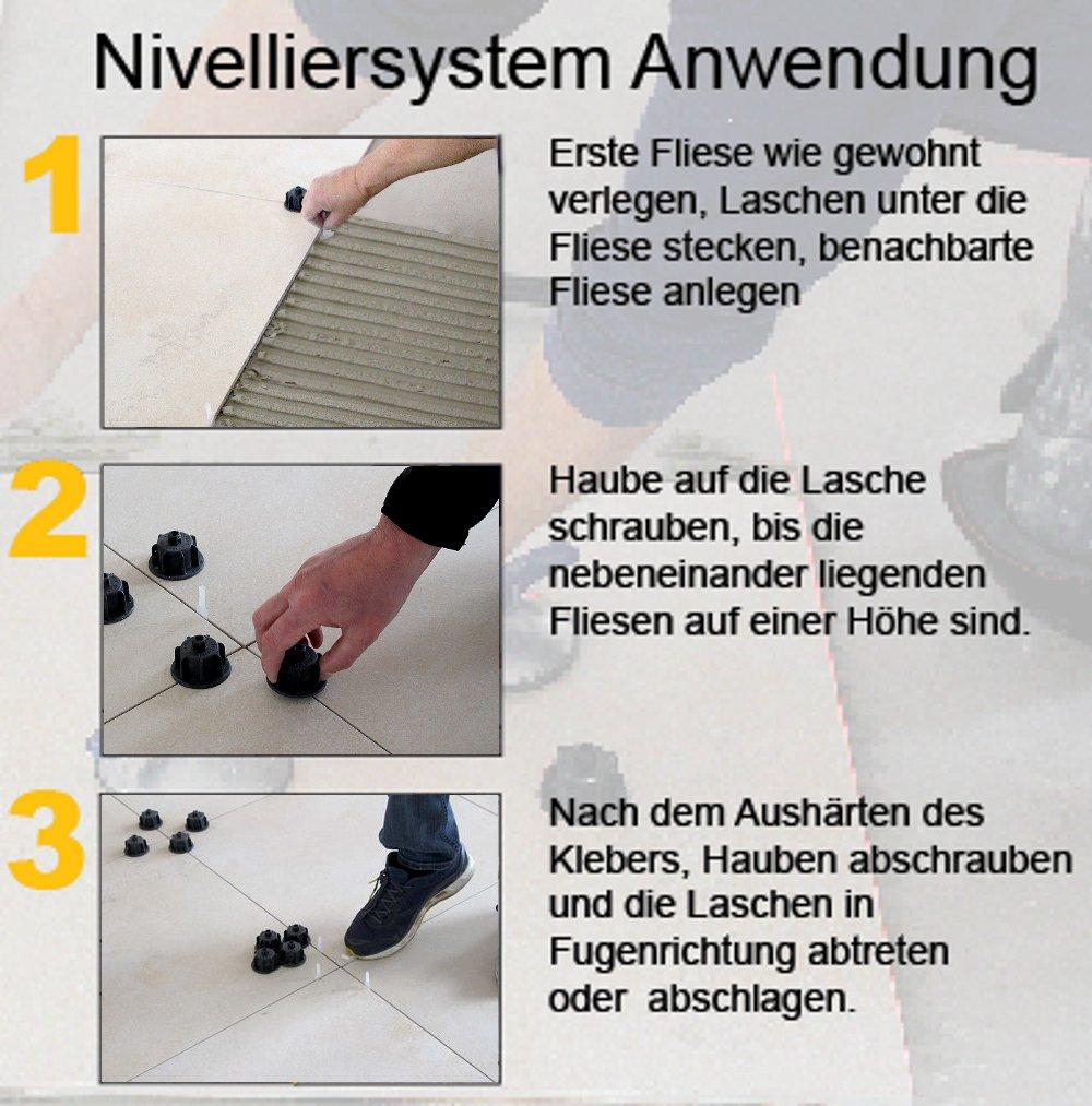 Gewindelaschen 12457 mit 2500 Laschen f/ür Fliesen Nivelliersystem von KARL DAHM Profi-Qualit/ät vom deutschen Marktf/ührer das Original f/ür Fliesen von 3-12mm