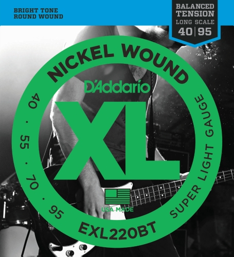 Strings Bass Gauge Light - D'Addario EXL220BT Nickel Wound Bass Guitar Strings, Balanced Tension Super Light, 40-95
