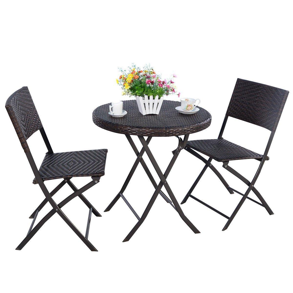 Amazon.com: giantex 3pc silla plegable de mesa redonda ...