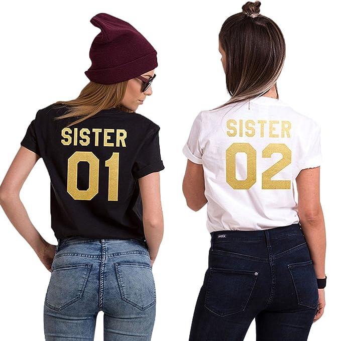 2 opinioni per Minetom T Shirt Donna Best Friend Estive Tunica Tops Cime Sister 01 02 Stampa