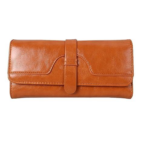 Mujer Carteras Cuero tarjeta Carteras y monederos Piel Bolso Billetera Card Holders de gran capacidad cuero