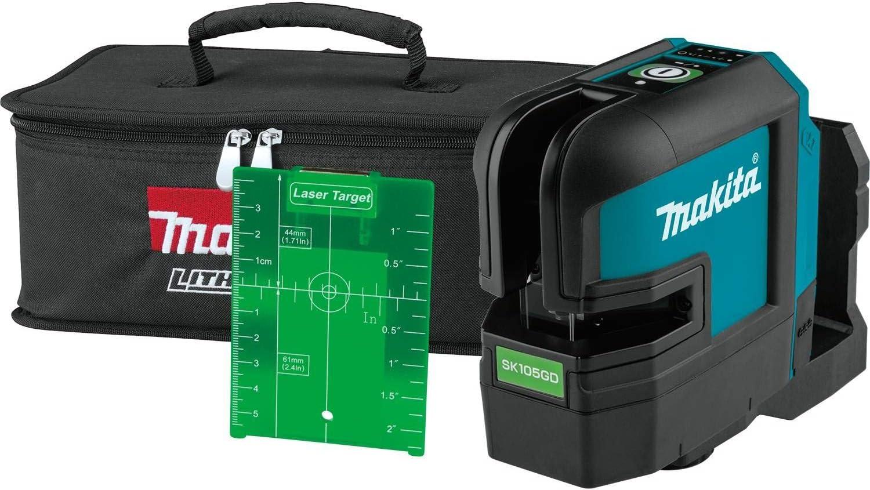 MAKITA SK105GDZ MAX Cross Line Laser (Verde) -Cuerpo Solamente, 12 V