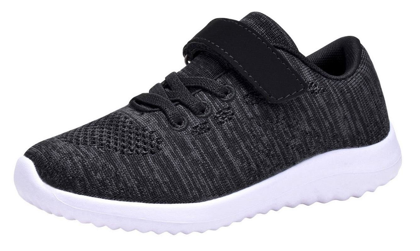 Umbale Boys and Girls Flyknit Sneakers Comfort Running Shoes(Toddler/Kids) (12 M US Little Kid, Black)