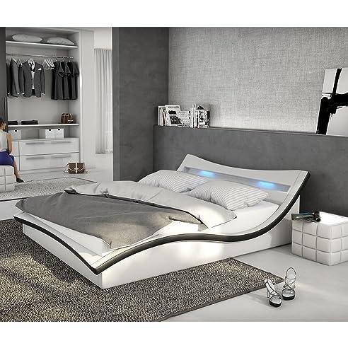 Bettgestell 180x200 weiß  Polster-Bett 180x200 cm weiß-schwarz aus Kunstleder mit LED ...