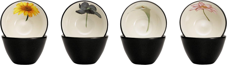 Noritake Colorwave Floral Bowl, 4-Inch, Graphite, Set of 4