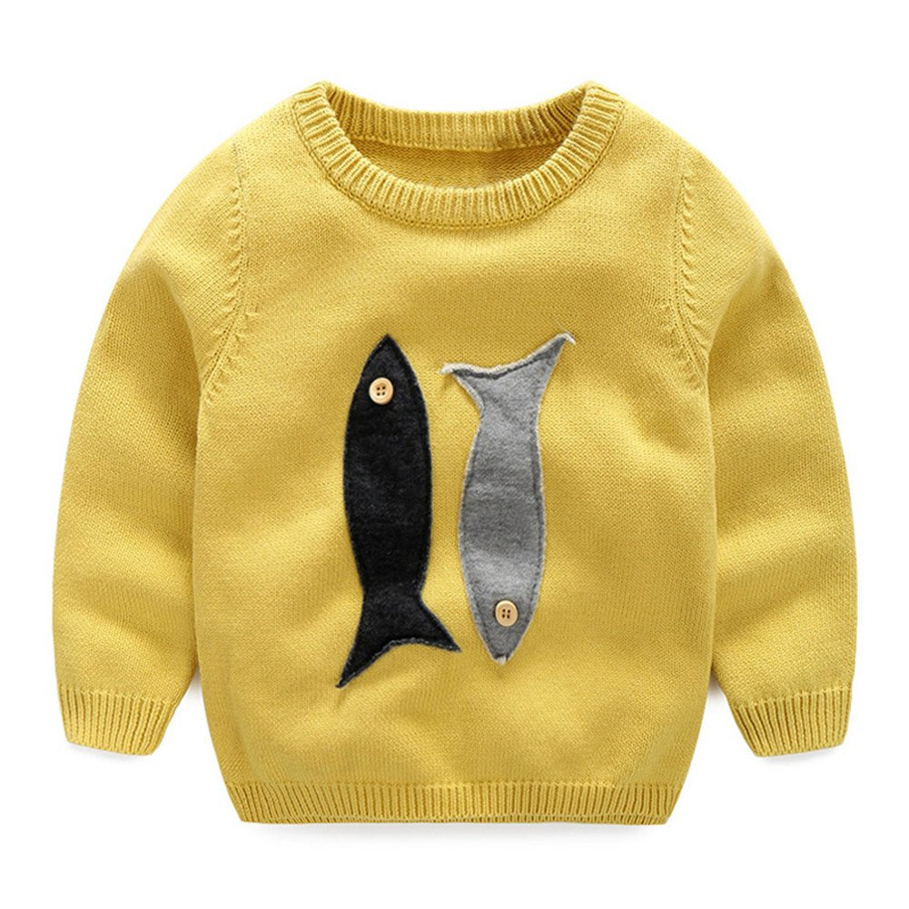 Mud Kingdom Little Girls Cartoon Fish Knitted Pullover Sweater Yellow 2T