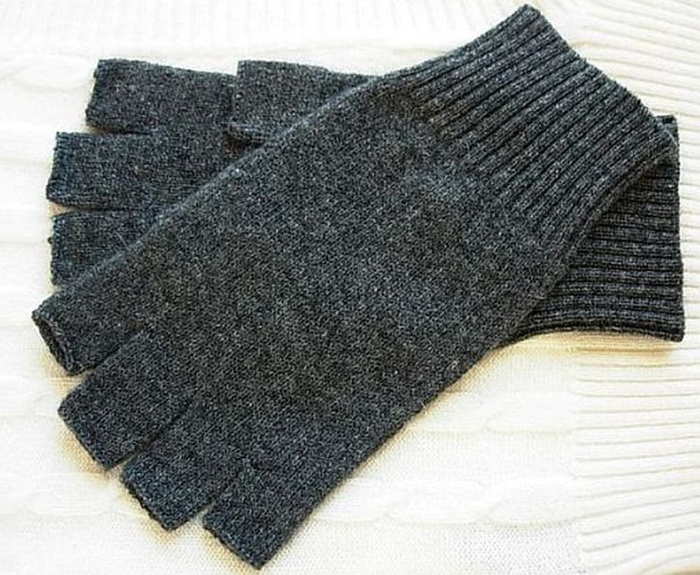 Charcoal Gray Pure 100% Cashmere Fingerless Half Finger Wrist Gloves