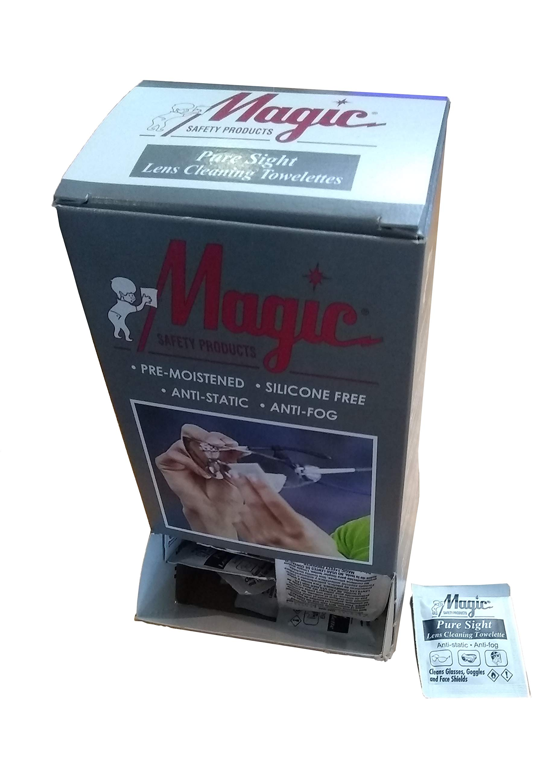 Lens Cleaning Towelettes Pure Sight Wrapped by Magic Safety - MS93165 (10 Boxes = 1 Case)