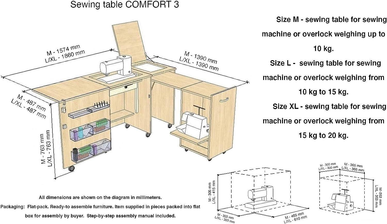 Lakeland Acacia Light, XL Comfort 3 Air-lift 15 to 20 kg Mueble para m/áquina de coser  