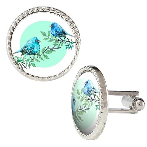 Acuarela Ilustración de dos azul de pájaros sobre ramas Gemelos: Amazon.es: Joyería