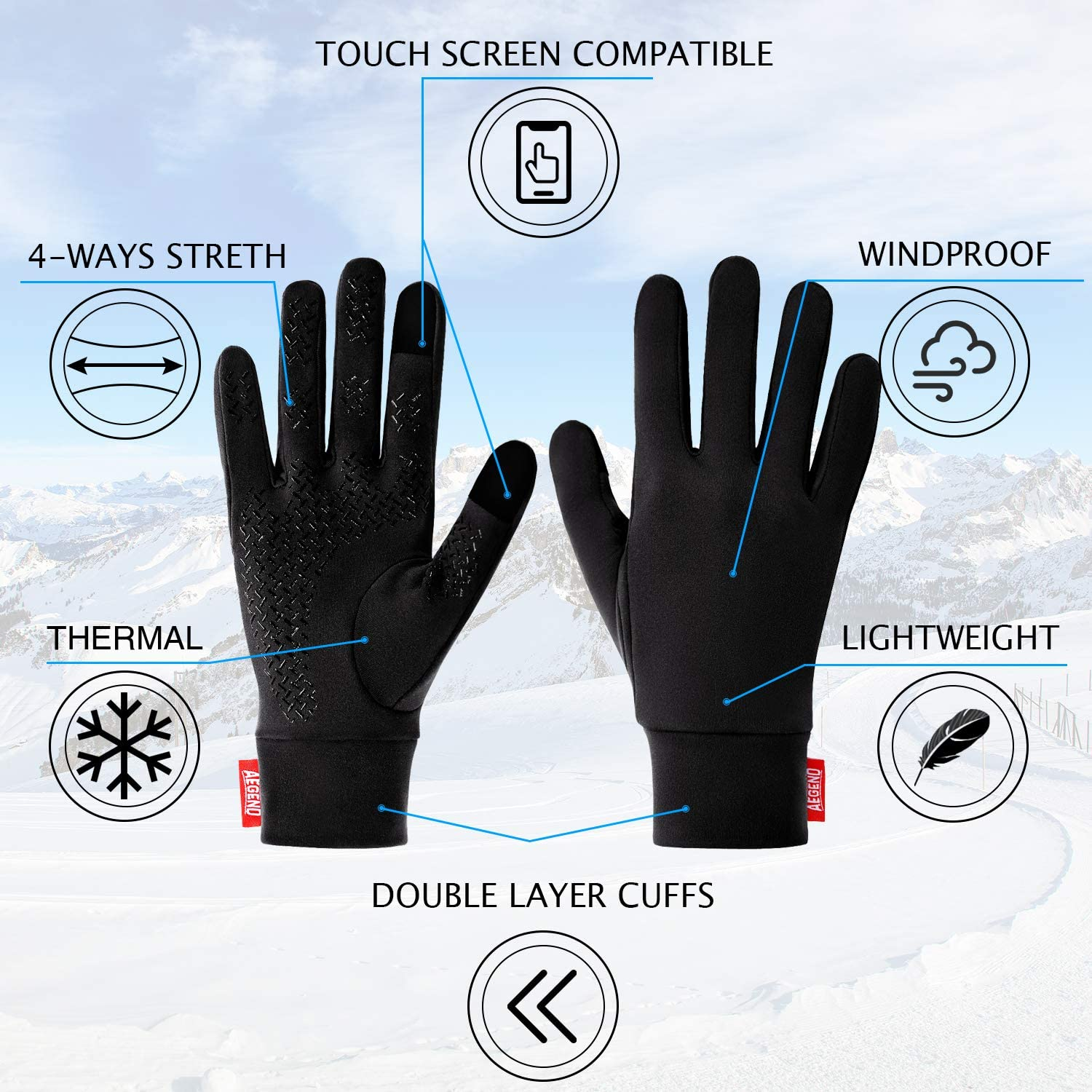 Black Walking Working Outdoor Men Women In Early Spring Or Fall Riding aegend Small Sports Running Gloves Touch Screen Gloves Lightweight Liner Gloves For Running