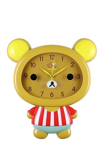 """ThreeStar Brown Bear Childrens Wall Clock Cute Home Decor Kawaii, 14"""" ..."""