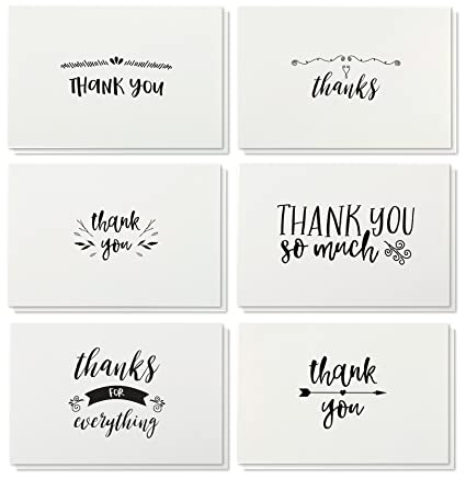 amazon com thank you cards 48 count thank you notes kraft paper