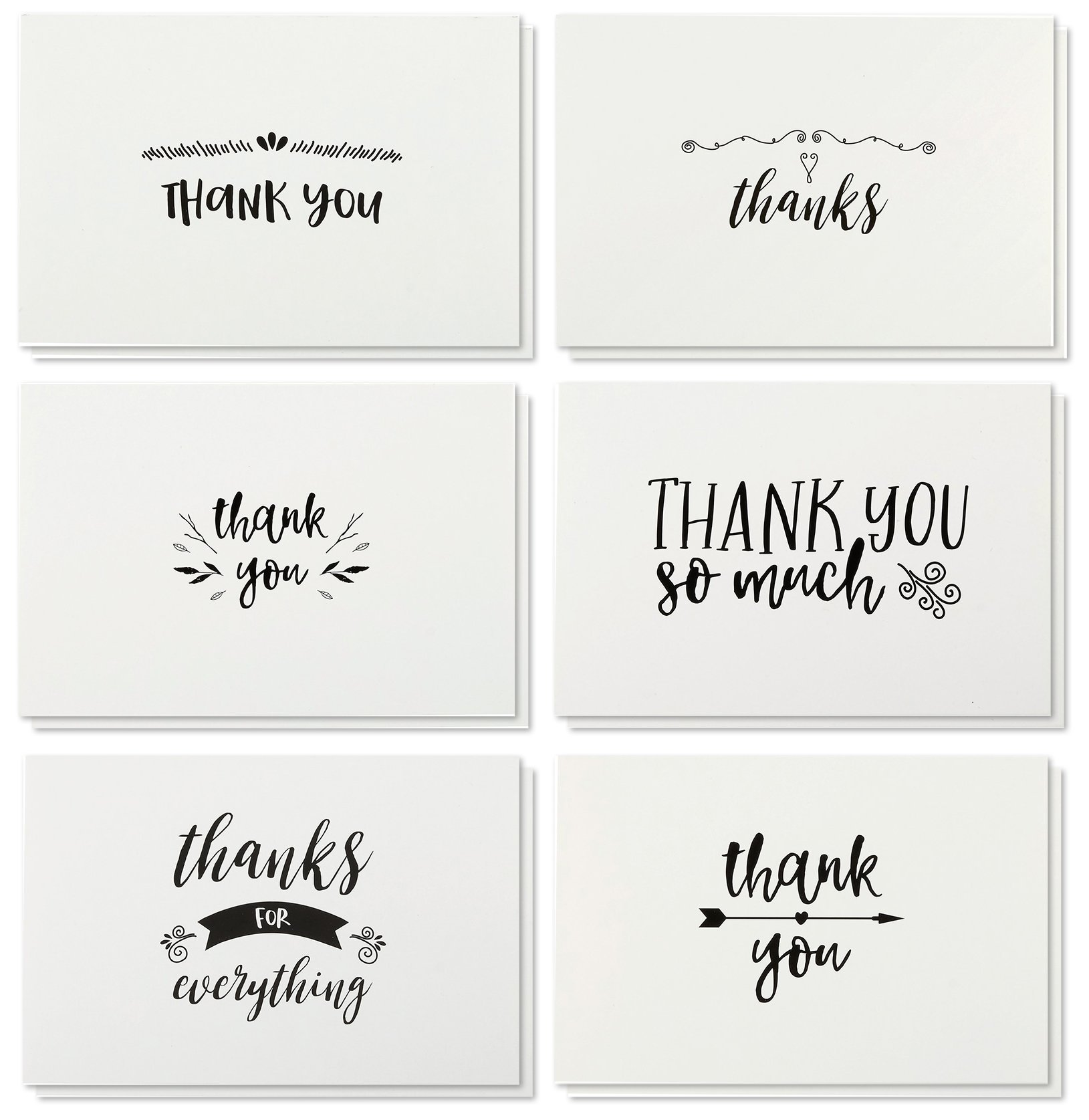Amazon.com: Simple Thank You Blank Cards, 36 count - Gray Envelopes ...