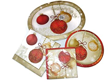 Christmas Ornaments Oval Paper Plates Napkins Bundle  sc 1 st  Amazon.com & Amazon.com: Christmas Ornaments Oval Paper Plates Napkins Bundle ...