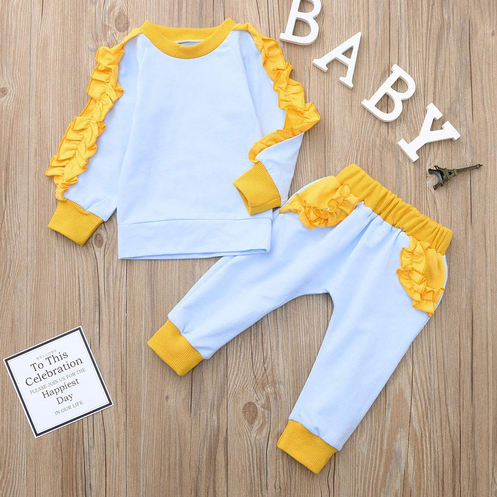 2PCS Outfit Set for 1-4 Years Baby Girls Ruffle Winter Fall Warm Solid Cotton Top+Pant Clothes Set