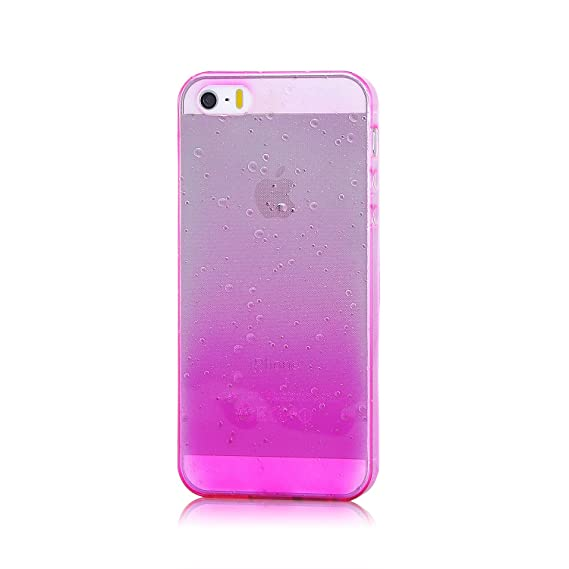 sports shoes b4547 f48d4 Apple iPhone 5s, iPhone 5 Protector Case, Pink Color Gradient 3D Waterdrop  Raindrop TPU Soft Cover case