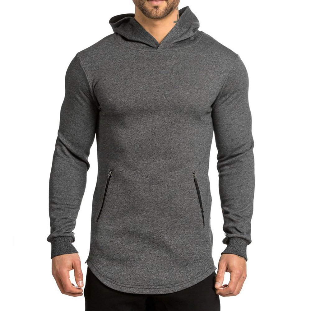 EVERWORTH Men's Gym Workout Hoodies Training Sport Pullover Sweatshirt Zipper Pockets