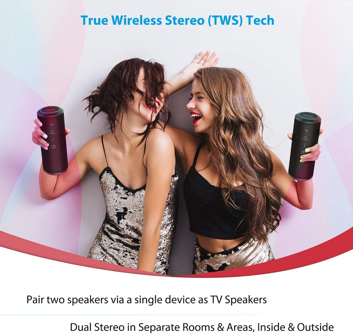 24W Enhanced X-Bass /& 360 Degree Sound TWS Bluetooth Speaker Travel Black IPX6 Portable Speaker for Home 15 Hours Play Time Party Zamkol Waterproof Bluetooth Speakers Portable Wireless