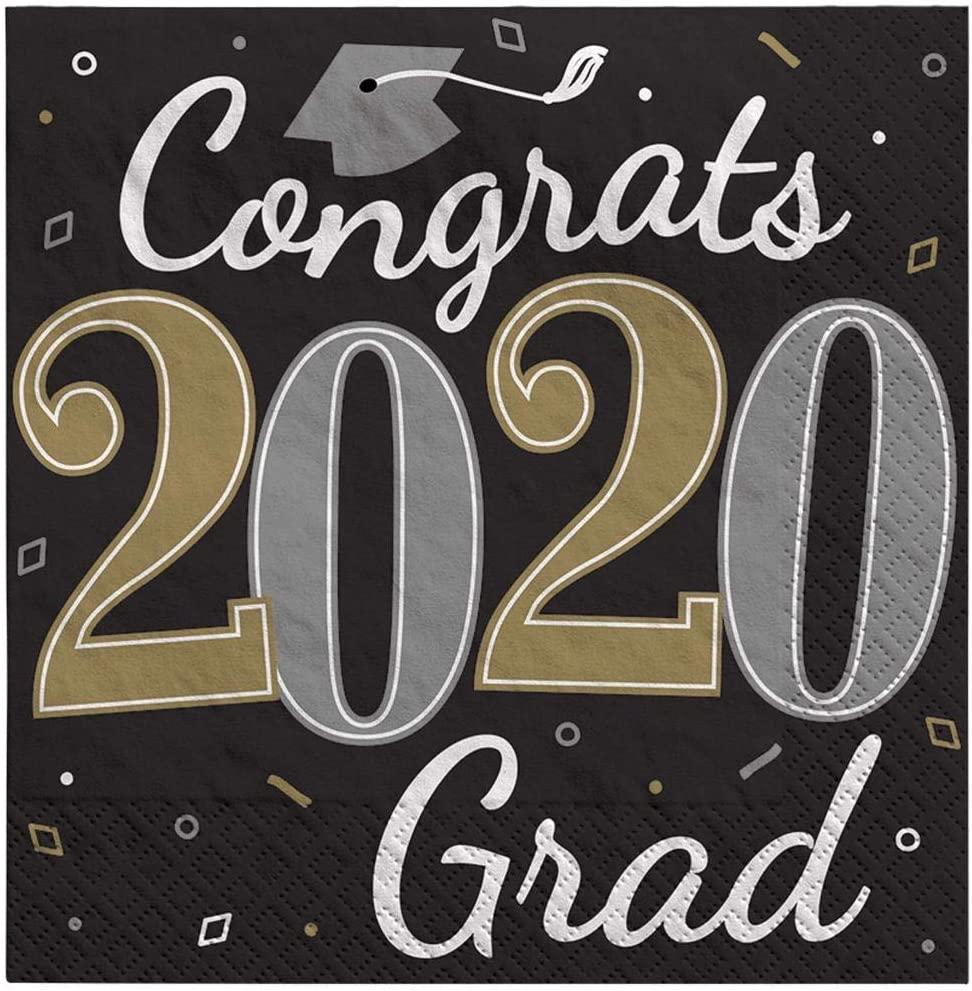 Amscan Graduation Party Well Done Grad 2020 Luncheon Napkins, 36 Count