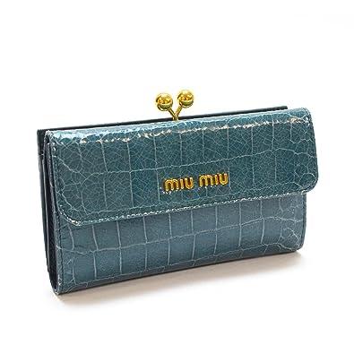 99c513a9d38d Amazon | [ミュウミュウ] MIUMIU がま口二つ折り財布 クロコ調型押し ...