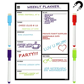 A3 Magnetic Whiteboard Fridge Calendar Planner Dry Erase Mu0026W Weekly Planner  New