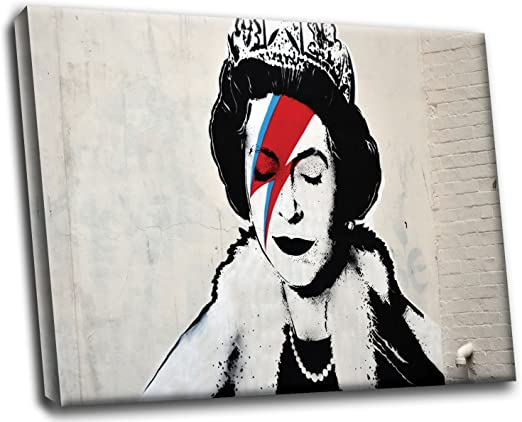 Banksy Queen As Ziggy Stardust Paint by  RePrint On Framed Canvas Wall Art Decor