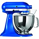 KitchenAid Artisan 5KSM150PSDEB 10 Speed 4.7 Litre (5Qt) 300 Watt Tilt Head Stand Mixer with Flat Beater, Dough Hook, Whisk, Stainless Steel Bowl & Pouring Shield (Electric Blue)