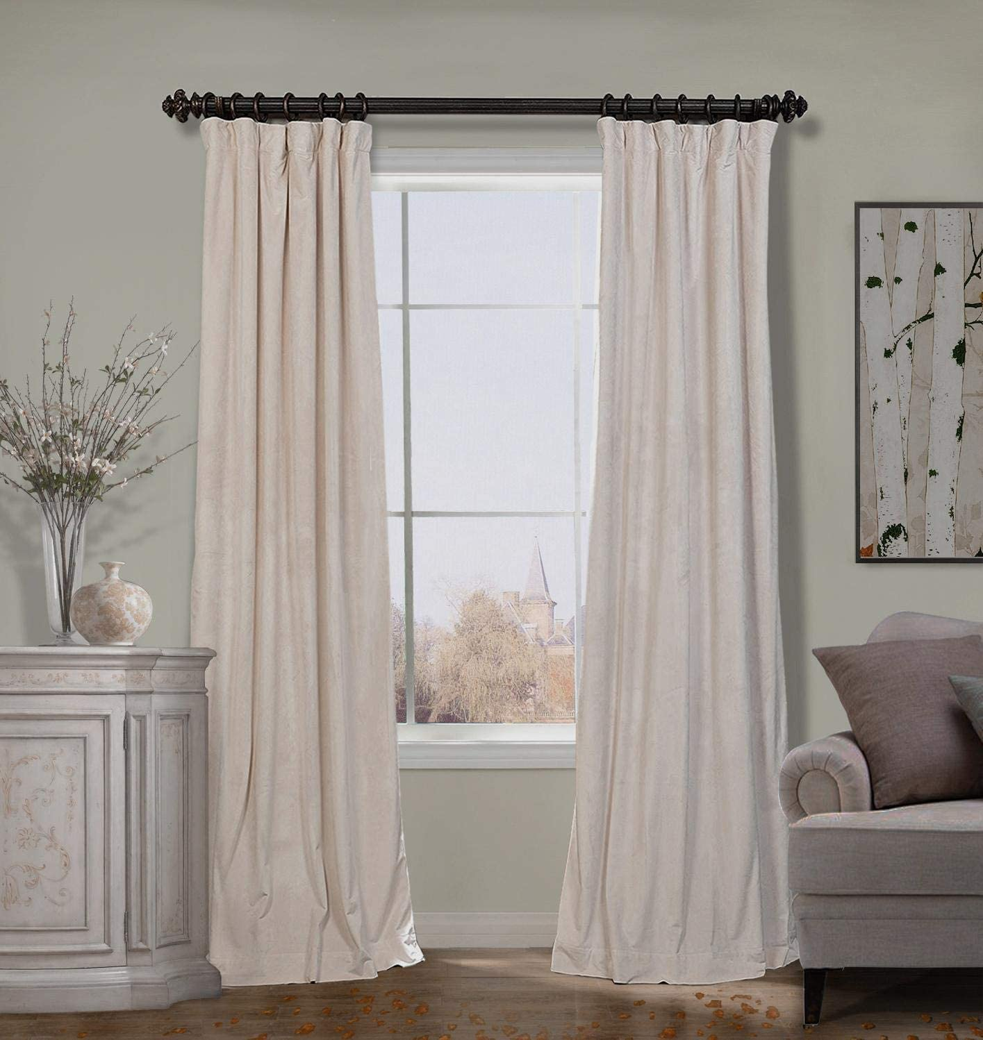 ChadMade Extra Wide Drape 100W x 120L Inch Solid Matt Luxury Heavyweight Velvet Curtain Drape with Blackout Lining Flat Hook or Ring Clip Heading for Track, Ivory 1 Panel
