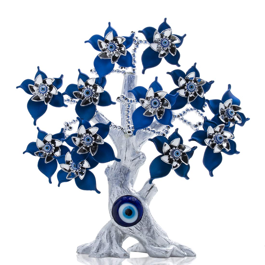 YU FENG Turkish Blue Evil Eyes Flower Silver Lucky Tree of Life for Home Protection Gift