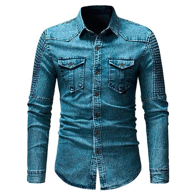 Sannysis Camisa de Hombre Moda Personalidad Manga Larga Ajustado Negocio Básica Botón Vaquero Casual Camiseta para