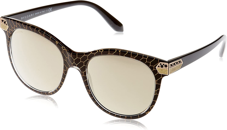 Bulgari 0BV8185B 54215A 55 Gafas de sol, Negro (Crystal Gold Mesh/Black/Lightbrownmirrorgold), Unisex-Adulto