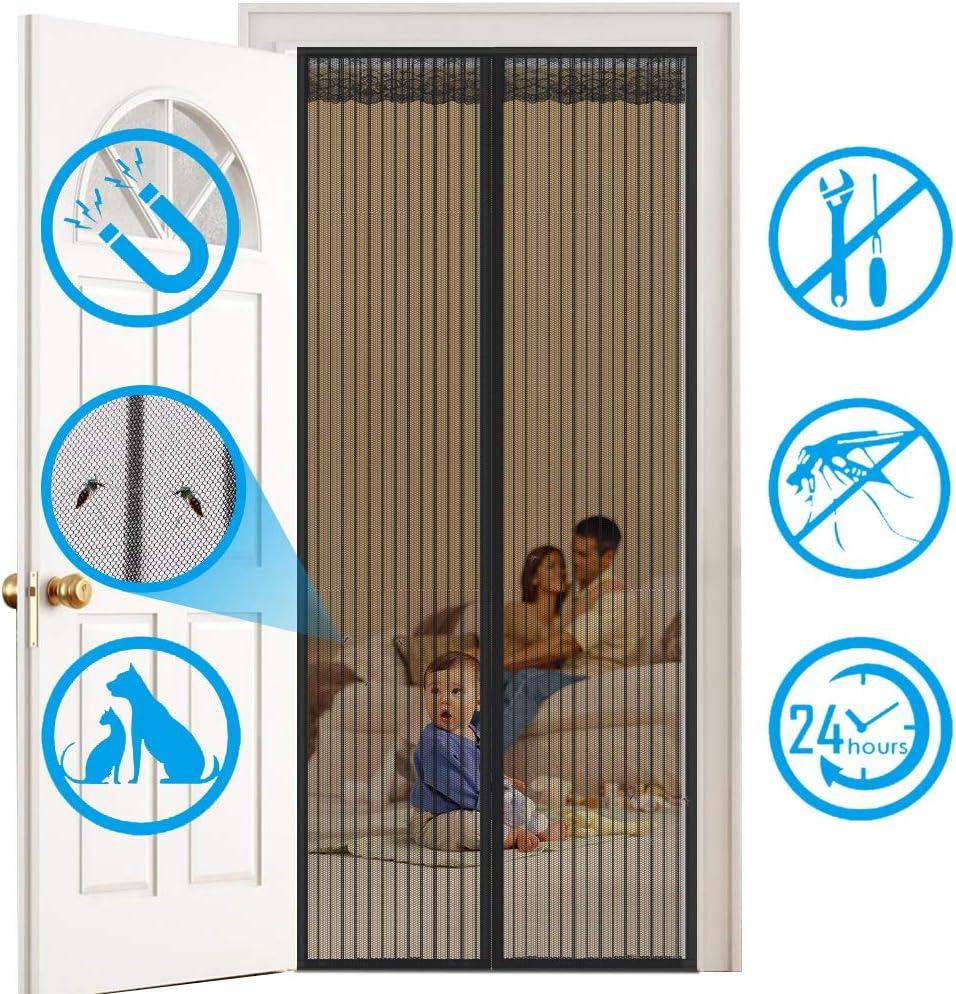 HALOViE Mosquitera Puerta Magnetica Mosquito 90 x 210cm Cortina Mosquitera Magnética Protección de Insectos Mosca Anti-mosquito Cortina Magnética para Sala de Estar Balcón Patio Habitación, Negro