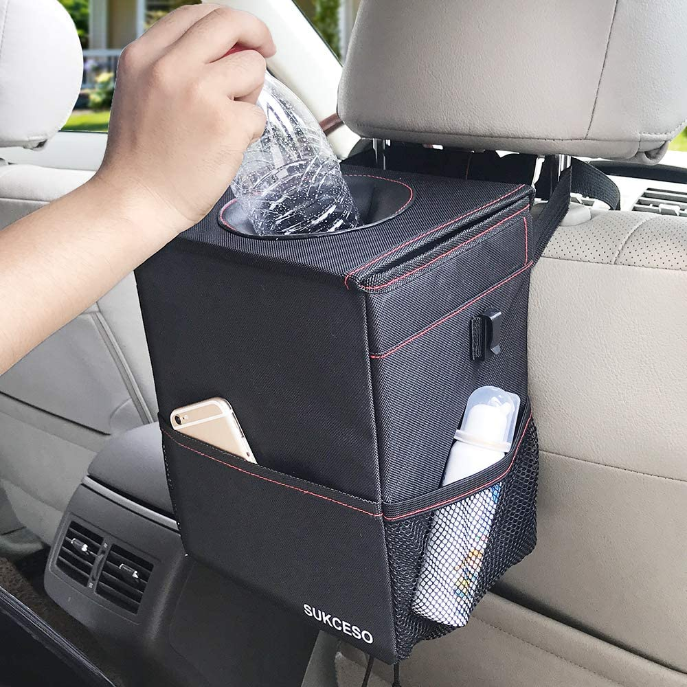 Black, 1.67 Gallon 100/% Leak Proof Rubbish Can with 3 Storage Pockets Andery Car Rubbish Bin Premium Collapsible Car Trash Bag Hanging with Lid