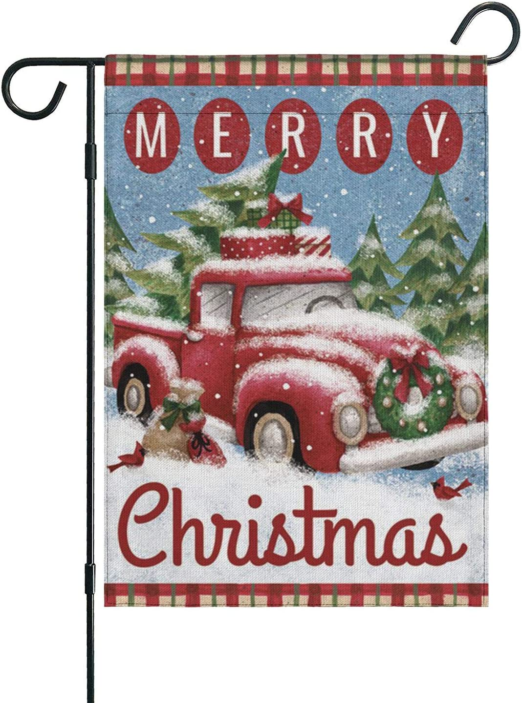 Topper-E Merry Christmas Garden Flag, Double Sided Home Decorative Nativity Xmas Rustic Winter Snowman Yard Sign Flag Banner, Vintage New Year Seasonal Outdoor Burlap Flag 12.5 X 18 Holiday