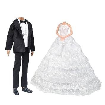 Barbie Puppen Hochzeit Set, Schöne Braut Kleid mit Schleier und ...