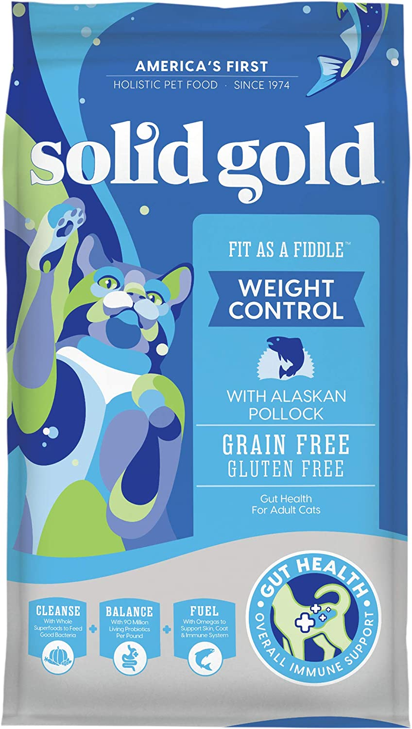 2. Solid Gold Fit as a Fiddle Dry Cat Food for Weight Control